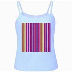 Stripes Colorful Background Pattern Baby Blue Spaghetti Tank