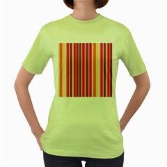 Stripes Colorful Background Pattern Women s Green T Shirt