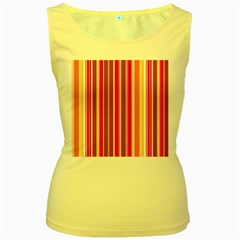 Stripes Colorful Background Pattern Women s Yellow Tank Top
