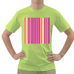 Stripes Colorful Background Pattern Green T Shirt