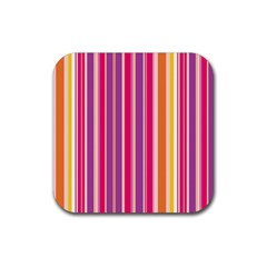 Stripes Colorful Background Pattern Rubber Coaster (Square)