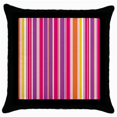 Stripes Colorful Background Pattern Throw Pillow Case (Black)