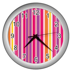 Stripes Colorful Background Pattern Wall Clocks (silver)