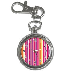 Stripes Colorful Background Pattern Key Chain Watches
