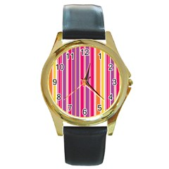 Stripes Colorful Background Pattern Round Gold Metal Watch
