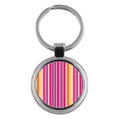 Stripes Colorful Background Pattern Key Chains (round)