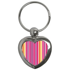 Stripes Colorful Background Pattern Key Chains (heart)