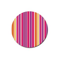 Stripes Colorful Background Pattern Rubber Coaster (Round)