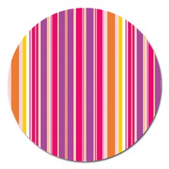 Stripes Colorful Background Pattern Magnet 5  (Round)
