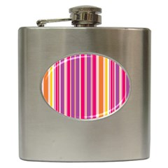 Stripes Colorful Background Pattern Hip Flask (6 Oz)