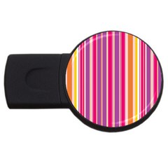 Stripes Colorful Background Pattern USB Flash Drive Round (1 GB)