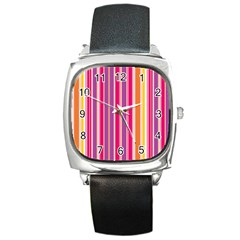 Stripes Colorful Background Pattern Square Metal Watch