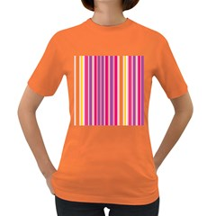 Stripes Colorful Background Pattern Women s Dark T-Shirt