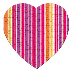 Stripes Colorful Background Pattern Jigsaw Puzzle (Heart)