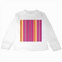 Stripes Colorful Background Pattern Kids Long Sleeve T Shirts