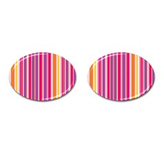 Stripes Colorful Background Pattern Cufflinks (Oval)