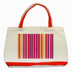 Stripes Colorful Background Pattern Classic Tote Bag (red)