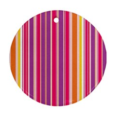 Stripes Colorful Background Pattern Round Ornament (two Sides)