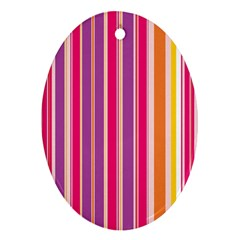 Stripes Colorful Background Pattern Oval Ornament (two Sides)