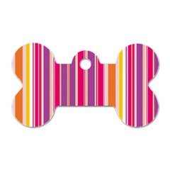 Stripes Colorful Background Pattern Dog Tag Bone (two Sides)