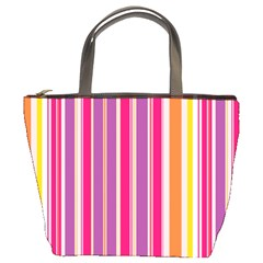 Stripes Colorful Background Pattern Bucket Bags