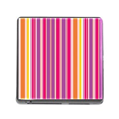 Stripes Colorful Background Pattern Memory Card Reader (Square)