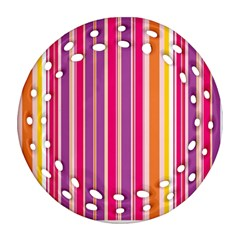 Stripes Colorful Background Pattern Round Filigree Ornament (two Sides)