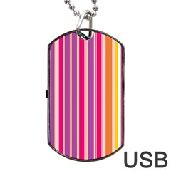 Stripes Colorful Background Pattern Dog Tag Usb Flash (two Sides)