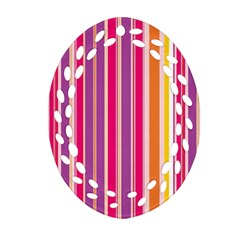 Stripes Colorful Background Pattern Oval Filigree Ornament (Two Sides)