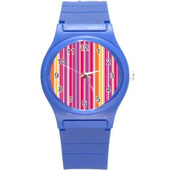 Stripes Colorful Background Pattern Round Plastic Sport Watch (s)