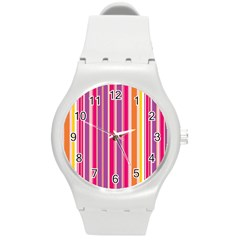 Stripes Colorful Background Pattern Round Plastic Sport Watch (m)