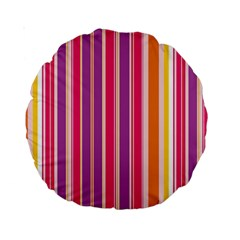 Stripes Colorful Background Pattern Standard 15  Premium Round Cushions