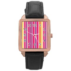 Stripes Colorful Background Pattern Rose Gold Leather Watch