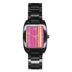 Stripes Colorful Background Pattern Stainless Steel Barrel Watch