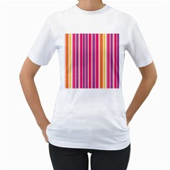 Stripes Colorful Background Pattern Women s T-Shirt (White)