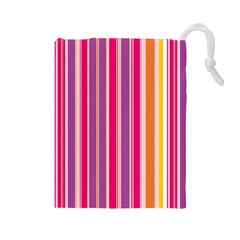 Stripes Colorful Background Pattern Drawstring Pouches (large)