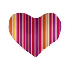 Stripes Colorful Background Pattern Standard 16  Premium Flano Heart Shape Cushions