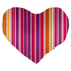 Stripes Colorful Background Pattern Large 19  Premium Flano Heart Shape Cushions