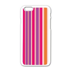 Stripes Colorful Background Pattern Apple Iphone 6/6s White Enamel Case