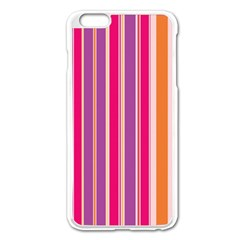 Stripes Colorful Background Pattern Apple iPhone 6 Plus/6S Plus Enamel White Case