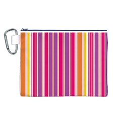 Stripes Colorful Background Pattern Canvas Cosmetic Bag (L)