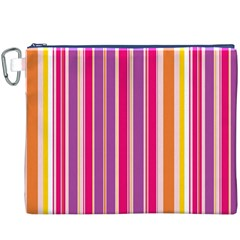 Stripes Colorful Background Pattern Canvas Cosmetic Bag (XXXL)
