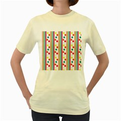 Stripes Polka Dots Pattern Women s Yellow T-Shirt