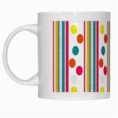 Stripes Polka Dots Pattern White Mugs