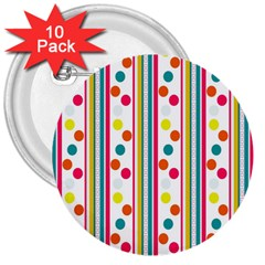 Stripes Polka Dots Pattern 3  Buttons (10 Pack)