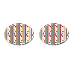 Stripes Polka Dots Pattern Cufflinks (Oval)