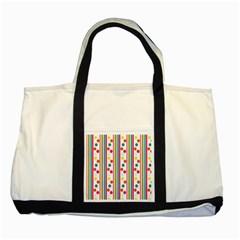 Stripes Polka Dots Pattern Two Tone Tote Bag
