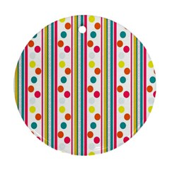 Stripes Polka Dots Pattern Round Ornament (Two Sides)