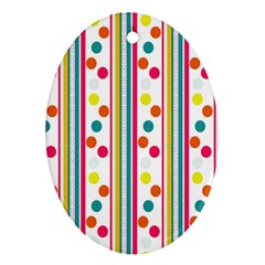 Stripes Polka Dots Pattern Oval Ornament (Two Sides)