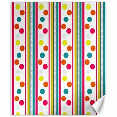 Stripes Polka Dots Pattern Canvas 8  x 10